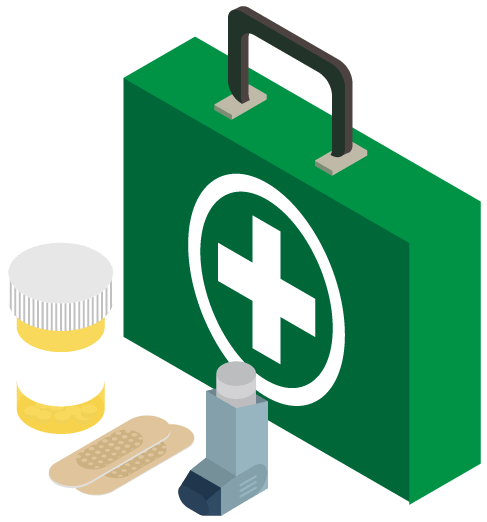 Medication and first-aid kit icon